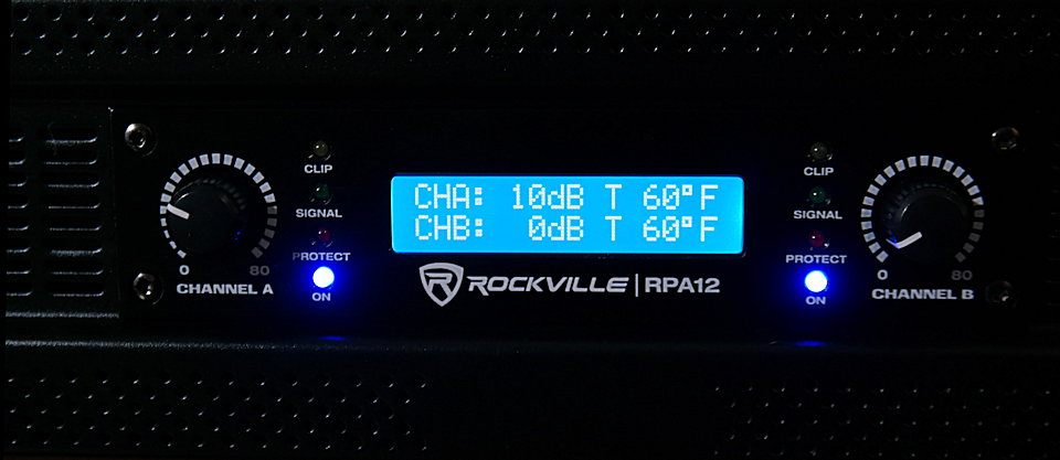 Rockville RPA12 front panel display and temperature readout