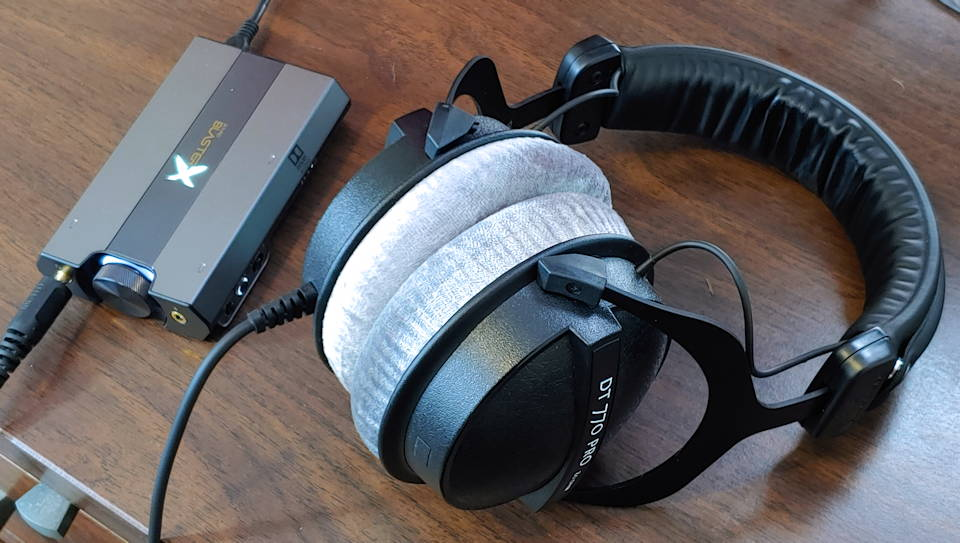 DT 770 plugged into the CreativeX G6 USB sound card and DAC