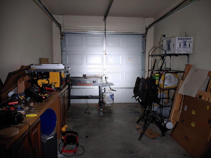 Garage fully lit up using Turbo mode