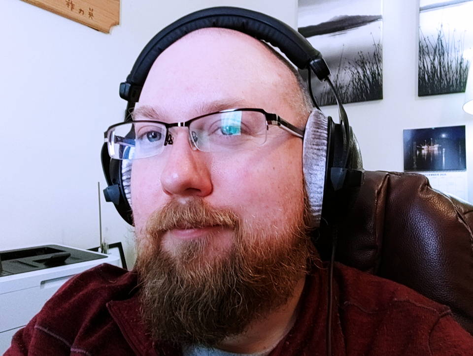 Me enjoying the DT 770's comfort and excellent sound.